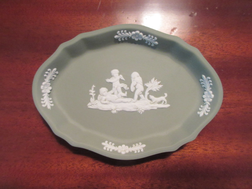 Vintage Wedgwood Jasperware Sage Green Trinket Dish Made In England