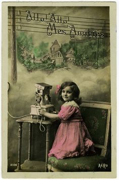 Vintage Postcard little girl on phone en francais